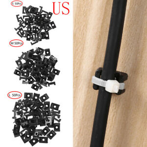 50 Wire Cable Tie Mount Saddle Holders Clamp Screw Fixing Mount Hole Base Clips