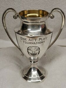Antique 1928 Silver Plated Perpetual Trophy Loving Cup Melpo Thalia Theatre Mask