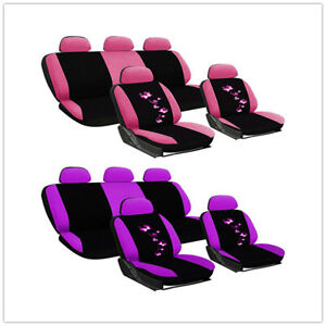Universal Pink Car Seat Covers Butterfly Women Girls For Truck Suv Protector
