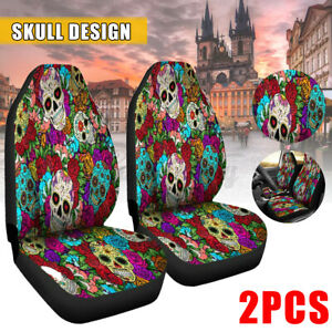 Pair 5 seats Skull Auto Car Truck Front Seat Cover Cushion Set Universal Bucket