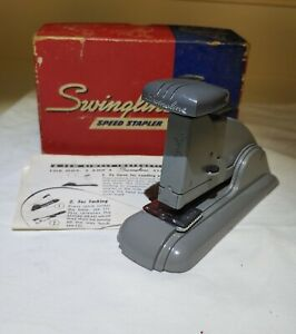 Vintage Swingline No 3 Speed Stapler Gray In Original Box With Instructions