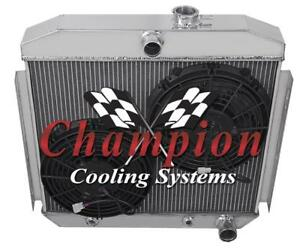 3 Row Jr Champion Radiator W 2 10 Fans For 1955 1956 Bel Air 6 Cyl Mount
