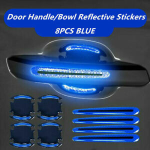 8x Car Auto Door Handle Bowl Protective Film Reflective Decor Sticker Strips
