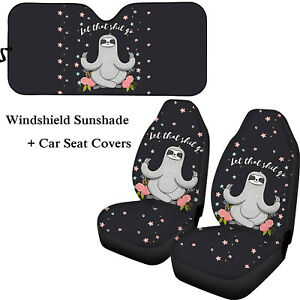 Cute Sloth Car Seat Covers With Car Windshield Sun Shade 3 Pcs Accessories Set