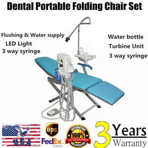 Portable Dental Folding Chair W 4hole Weak Suction 3way Syringe Set led Light