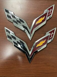 2x Silver 2014 2019 Corvette C7 Front Rear Cross Flag Emblem Badge Stickers Kit