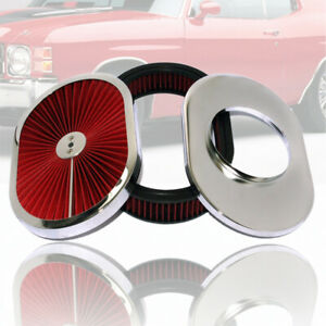 12 X 2 Oval Washable Super Flow Air Cleaner Chrome Red Filter Lid Universal Gm
