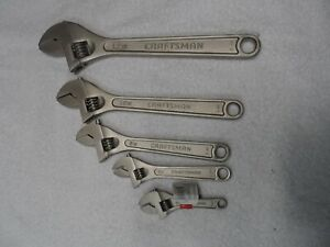 Craftsman 4 6 8 10 12 Adjustable Wrench Set Made In China 5 Pcs