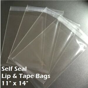 11 X 14 Clear Recloseable Self Seal Adhesive Lip Tape Plastic Cello Bags