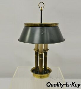 Vintage Green Tole French Empire Brass 3 Light Desk Bouillotte Table Lamp