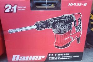 Bauer Rotary Hammer Drill Kit Variable Speed 1 9 16 Sds Max type Pro 1643e b