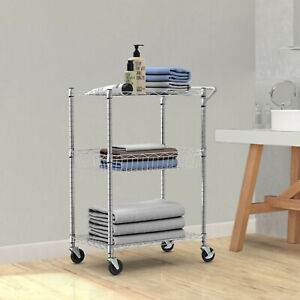 3 tier Utility Cart Heavy Duty Wire Rolling Cart With Handle Bar Storage Trolley