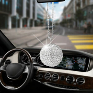 Car Pendant Bling Diamond Crystal Ball Hanging Mirror Auto Rear View Decorations