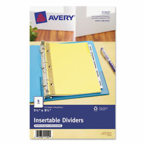 Avery Buff Colored Insertable Dividers Gold Reinforced 5 Print on Tab s