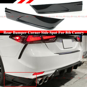For 2018 2021 Toyota Camry Se Xse V3 Gloss Black Rear Bumper Corner Apron Spats