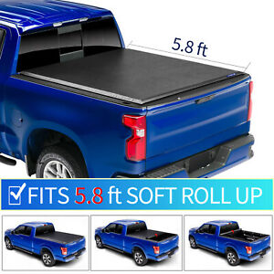 For 2007 2013 Chevrolet Silverado 1500 5 8 Ft Bed Soft Roll Up Tonneau Cover
