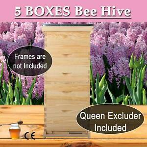 Upgraded Langstroth 5 Boxes Beehive Honey Bee Hive W metal Roof Queen Excluder