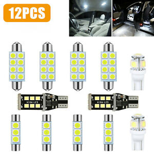 12x Auto Car Led Lights Interior Package Kit Dome License Plate Lamp Bulbs White