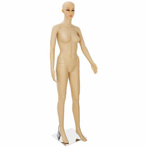 Plastic Clothes Female Mannequin Head Turns Dress Form Realistic Display W Base