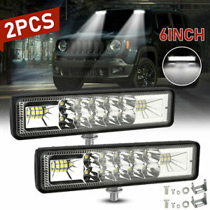 2x 6 Inch Cree Led Work Light 18w Driving Strip Spot Bar Fog 4wd Offroad Atv Suv