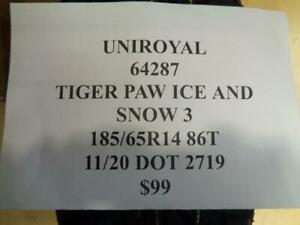 2 New Uniroyal Tiger Paw Ice And Snow 3 185 65 14 86t Tires 64287 Q0