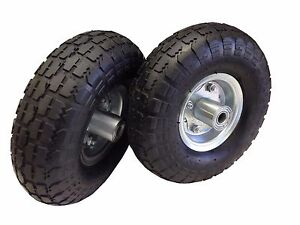 New 2 Tire Set 10 Steel Air Pneumatic Hand Truck Dolly Wagon Industrial Wheel
