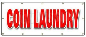 Coin Laundry Banner Sign Wash Fold Washing Machines Clothes Dry Cleaning
