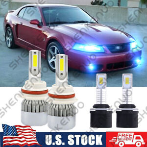 4x Led Headlight Fog Light Bulbs Kit 8000k For Ford Mustang Gt Svt Cobra 1999 03