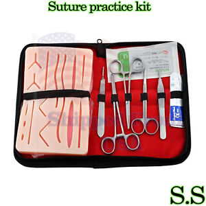 19 Pcs Suture Practice Kit Complete Suture Training With Silicone Pad Ds 1348