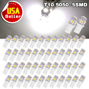50x Pure White T10 168 194 5050 5smd Led Interior Dome Map License Light Bulb