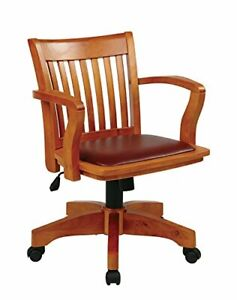 Wooden Bankers Desk Computer Swivel Chair Brown Vinyl Padded Seat Home Office