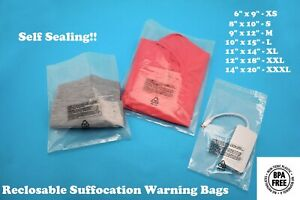 Self Seal Poly Bags Suffocation Warning Clear Lip Tape 1 5 Mil Shirt Apparel