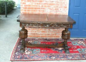 English Antique Dark Oak Art Deco Draw Leaf Dining Table Kitchen Table