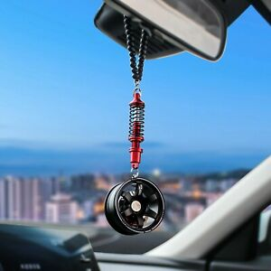 Car Pendant Mirror Wheel With Shock Absorber Hanging Rear Car Vehicle Decoration