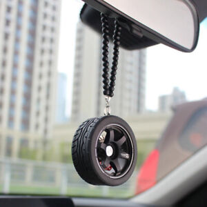 Car Pendant Wheel With Beads Hanging Mirror Rear View Car Decoration Accessories