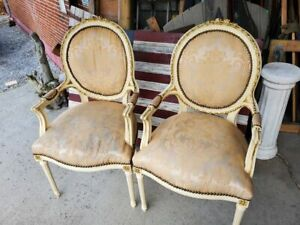 2 Antique French Provincial Arm Chairs Carved Details And Beautiful Fabric W