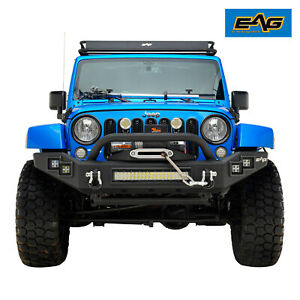 Eag Fit For 07 18 Jeep Wrangler Jk Led Front Bumper With D rings Winch Plate