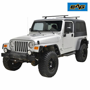 Eag Fit 97 06 Jeep Wrangler Tj Abs Flat Style 4pcs With Side Led Fender Flares