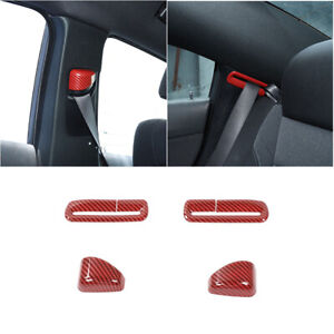 Red Carbon Fiber Seat Safety Belt Button Cover Trim For Dodge Charger 2011 A