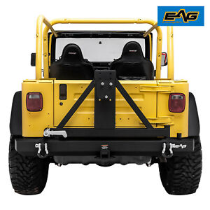 Eag Fits 87 06 Jeep Wrangler Tj Yj Classic Rear Bumper With Tire Carrier Black
