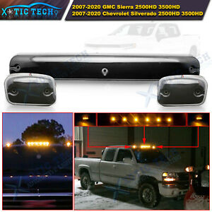 Smoked Lens Roof Cab Marker Light Amber Led For Chevy Gmc Silverado Sierra 3pcs