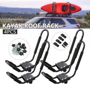 4 Boat Kayak Canoe Roof Rack Top Mount Carrier J bar Surf For Car Truck Crossbar