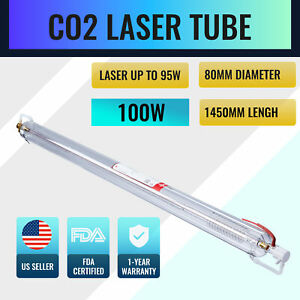 100w Co2 Laser Tube 1450mm 80mm For Engraving Cutting Machines Water Cool Gfs
