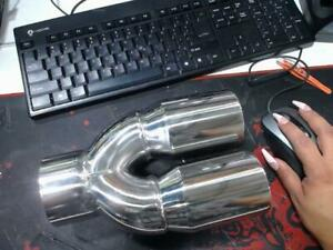 Return Unused 3 Inlet Exhaust Tip 3 Out Stainless Steel Straight Cut Dual Wall