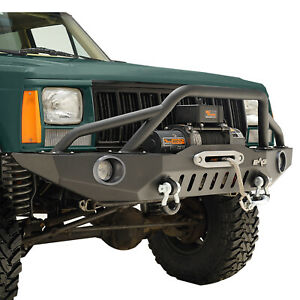 Fit For 1984 2001 Jeep Cherokee Xj Front Bumper W Led Lights Winch Plate