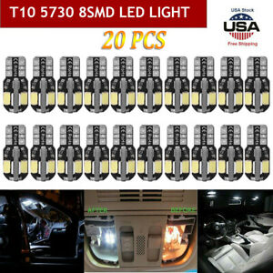 20pcs Canbus T10 194 168 W5w 5730 8 Led Smd White Car Side Wedge Light Bulb New