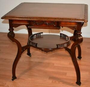 1880s Antique French Victorian Carved Solid Mahogany Hall Table Parlor Center