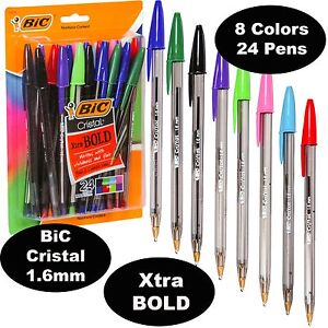 Bic Cristal 1 6 Mm Colors Xtra Bold Point 18838 Pack Of 24 Pens 8 Ink Colors