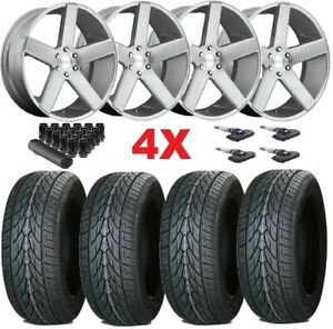 24x10 Silver Wheels Rims Dub Baller 305 35 24 Tires Brushed Silver