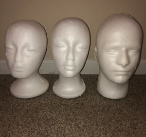 Lot Of 3 Foam Head Display Glasses Wig Hat Mask Etc Heads